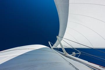 Katamaran jacht żaglowy na morzu. Żaglówka. Żeglarstwo.