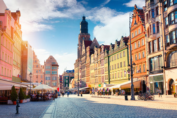 Colorful morning scene on Wroclaw Market Square.