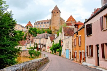 View toward the ancient fortified town of Semur en Auxois, Burgundy, France