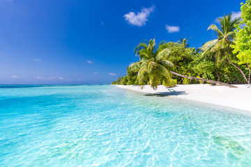 Beautiful perfect tropical beach scenery backgrounds blue sea lagoon sky clouds background concept website design luxury travel summer holiday sun zen inspirational