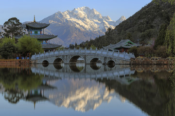 Beautiful view of the Black Dragon Pool and Jade Dragon Snow Mountain in Lijiang, Yunnan - China