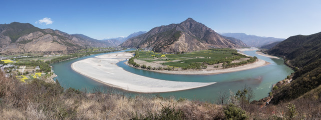 Panoramic view of the first bend of the Yangtze River near ShiGu village not far from Lijiang, Yunnan - China