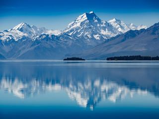 Mt. Hood reflection in calm lake, New Zealand