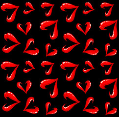 Seamless lips pattern on a black background.