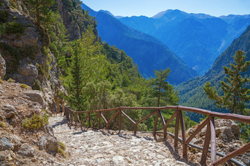 National Park of Samaria, Grecce, island Crete. Gorge Samaria. Magnificent view the top of the mountain. Forest path.