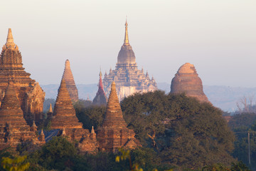 Bagan temple during golden hour