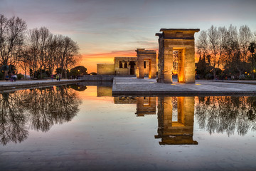 Świątynia Debod Madryt Hiszpania Zachód słońca