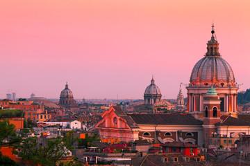 Rome Skyline at Dusk with San Carlo al Corso, Italy