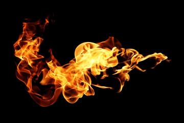 Ogień płomienie na białym na czarnym tle