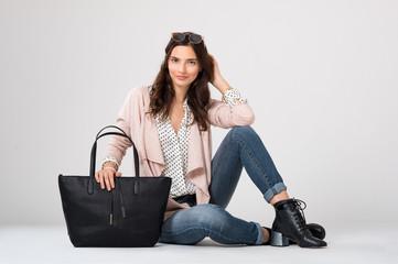 Fashion woman sitting
