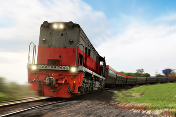 Freight train locomotive carrying with cargo
