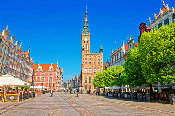 Main City Hall and Dlugi Targ Long market Square in Gdansk, Poland