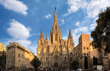 Barcelona, Spain - September 25, 2015: Cathedral of the Holy Cross and Saint Eulalia in Barcelona, Spain at sunset. Unidentified people present on picture.