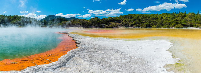 Water boiling in Champagne Pool - Wai-O-Tapu, New Zealand