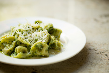 Pesto Tortellini with Parmesan cheese