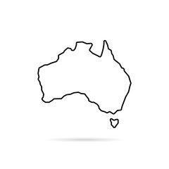 thin line australia map with shadow