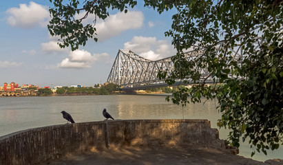 Howrah bridge Kolkata - the longest cantilever bridge in India and one of the busiest in Asia with nearly one lac vehicle crossing the bridge daily.