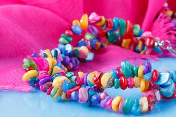 Beautiful plenty of colorful stone beads