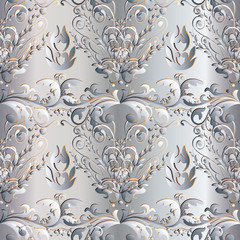 White Damask floral seamless pattern. Light flourish background wallpaper illustration with vintage  3d flowers, leaves and antique ornaments in Baroque Victorian style. Surface vector texture.
