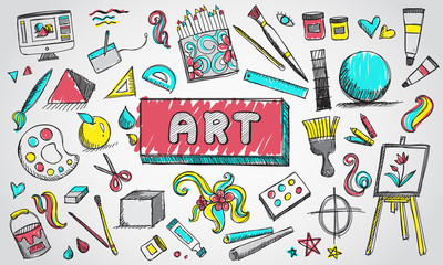 Fine art equipment and stationary doodle and tool model icon in isolated background. Art subject doodle used for school education or document decoration with subject header text, create by vector