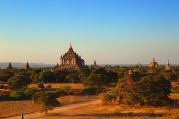 Temples in Bagan at sunset, Myanmar