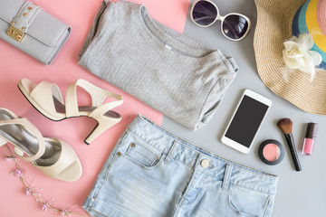 Fashion summer women clothes set with cosmetics and accessories