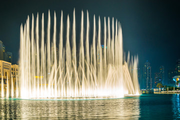 The Burj Khalifa lake with dancing fountain of Dubai, UAE