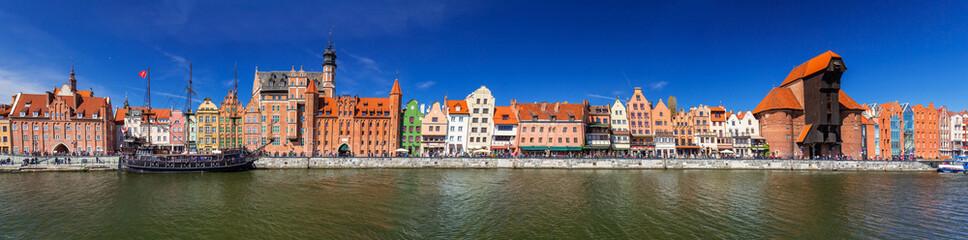 Panorama starego miasta Gdańska nad Motławą, Polska