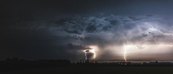 thunderstorm summer lightning landscape at night