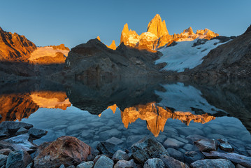 The reflection of the Monte Fitz Roy (Cerro Chalte) - the peak located in Patagonia in the border area between Argentina and Chile, the view from the trail in the National Park of Los Glaciares