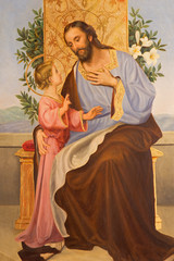 CORDOBA, SPAIN - MAY 27, 2015: Paint of St. Joseph from year 1909 by R. Perea in church  Convento de Capuchinos (Iglesia Santo Anchel).