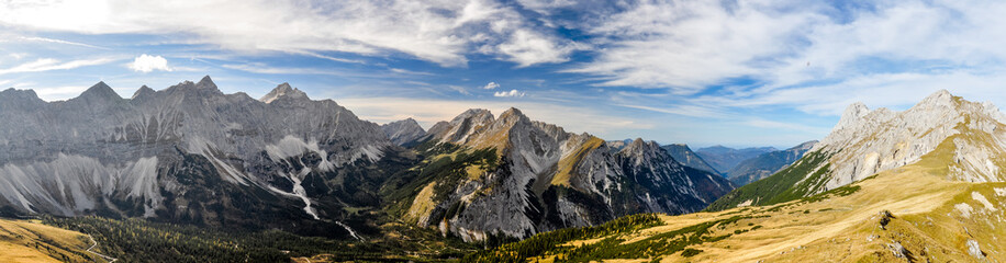 XXL panorama view seen from the summit of Mahnkopf in the Karwendel mountain range in Austria. Birkkarspitze, Kaltwasserkarspitze on the left, the northern Karwendel chain in the center.