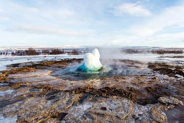 Start of a geyser eruption