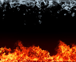 Water and fire connection, representation of elements. Isolated on black background