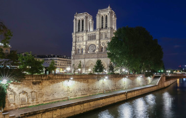 Notre Dame Cathedral at night, Paris, France