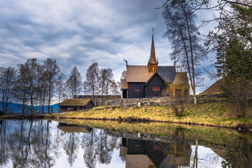 Lillehammer, Norway - May 13, 2017: Garmo Stave Church in Lillehammer, Norway