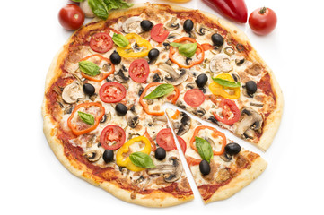 Pizza with ham, pepper and olives