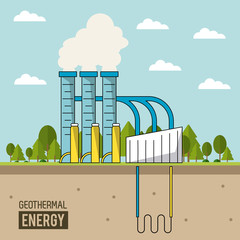 coloful background geothermal energy production plant with forest vector illustration