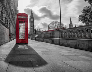 red telephone box at Big Ben