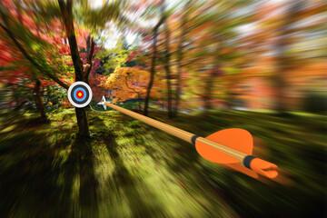 Strzała poruszająca się z precyzją i rozmytym ruchem w kierunku celu łuczniczego, część zdjęcia, część renderowania 3D