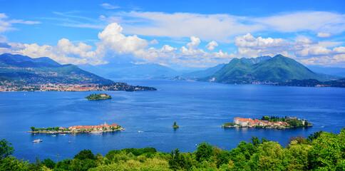 Panoramic view of Lago Maggiore lake, Italy