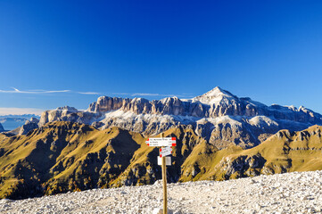 Stunning view of the Sella group mountain range in the Italian Dolomites in South Tyrol, with its highest peak, Piz Boé. Seen from the trail up to the summit of Marmolata, the highest Dolomites peak.
