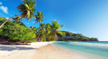 Amazing  Anse Takamaka beach on Seychelles.