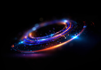 Abstract background. luminous swirl. Elegant glowing circle. Bright spiral. Glow ribbon. Empty space. .Sparkling particle. Space tunnel. Glossy orbit. Colorful ellipse. Glint galaxy. Oval stage