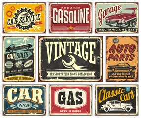 Vintage transportation signs collection for car service