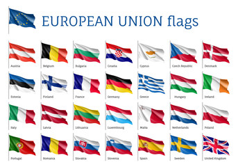Set of waving flags of EU: Spain, Sweden, Poland and Portugal, Belgium, Denmark, Latvia and Romania. 25 ensigns on flagpole of European Union states. Vector isolated icons on white background