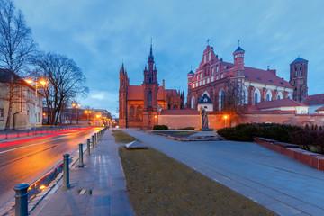 Vilnius. Catholic church of St. Anne at night.