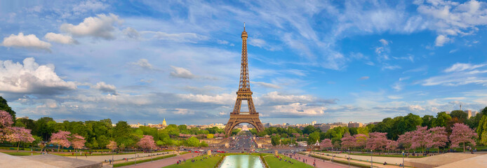 Panoramic image of Eiffel tower from Trocadero in Spring.