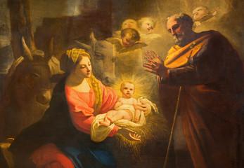 TURYN WŁOCHY, MARZEC, - 13, 2017: Szczegół obraz narodzenie jezusa w Duomo Giovanni Comandu da Mondovi (1795).