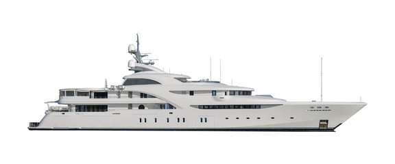 Super yacht isolated on white